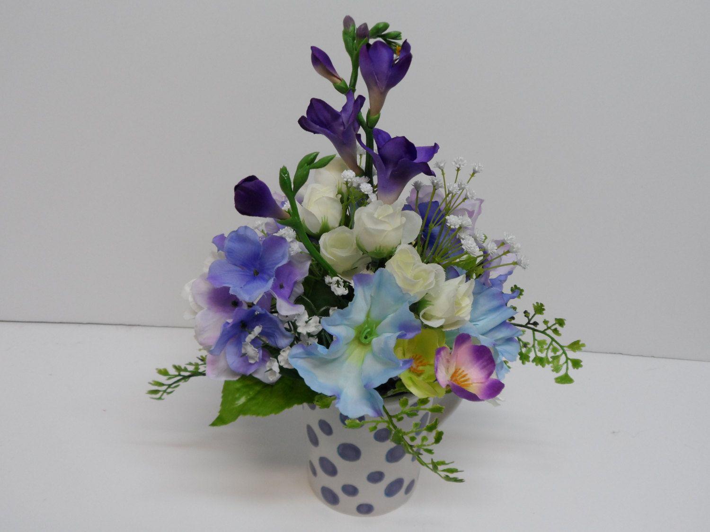 Flower arrangement gift mug lavender polka dot mug arrangement flower arrangement gift mug lavender polka dot mug arrangement easter gift mothers negle Choice Image