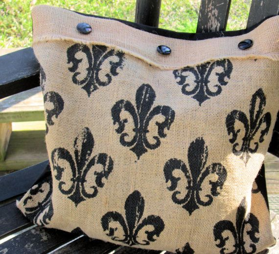Burlap Throw Pillows Etsy : Fleur De Burlap Throw Accent Pillow by ClemmieVs on Etsy, $13.00 #group2020 #handmade #homedecor ...