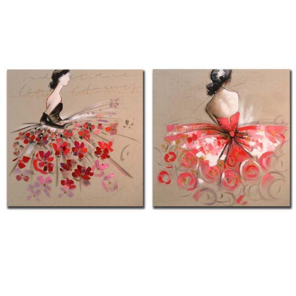 Set de 2 cuadros pintados al oleo de unas damas con for Cuadros pintados al oleo