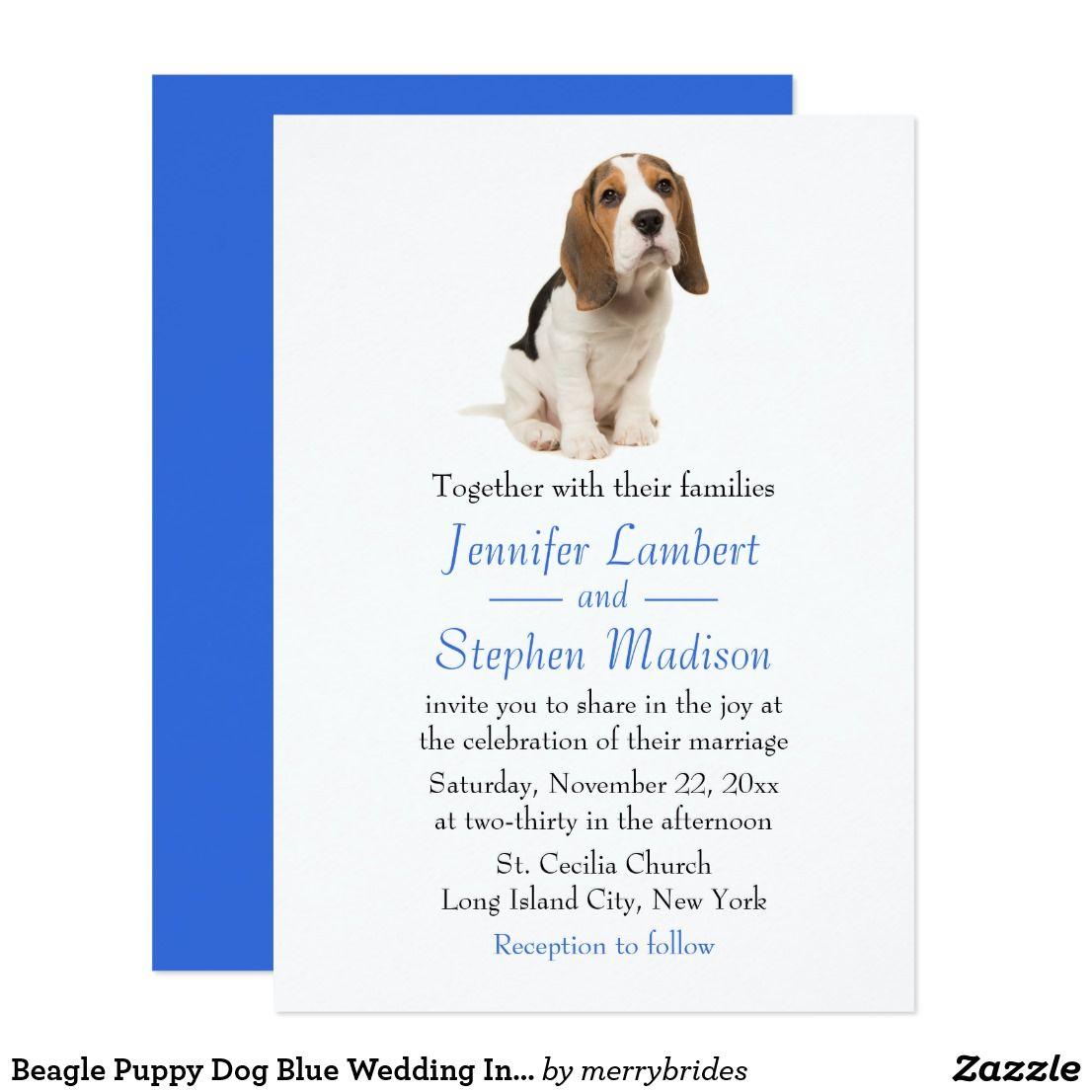 Beagle Puppy Dog Blue Wedding Invitation Zazzle Com Blue