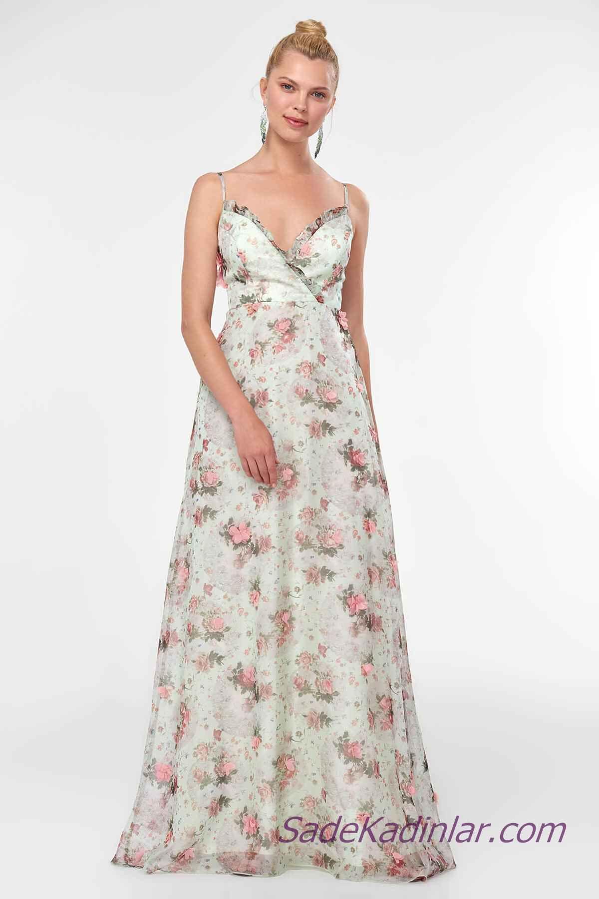 2480d465272b2 2019 Abiye Elbise Modelleri Ekru Uzun İp Askılı Fırfırlı Yaka Çiçek Desenli