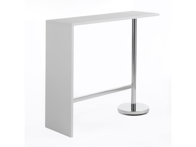 Table Haute De Bar Ricardo Mange Debout Comptoir Pietement Metal Chrome Bois Mdf Blanc Mat Table Haute Decoration Blanc Bois Mdf