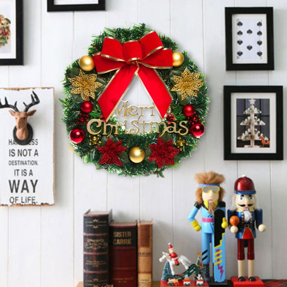 Vemee Christmas Wreath Christmas Decorated Ornament Wreath Garland Seasonal Pine Wreath With Cones Red Berries Bristle Indoor Outdo Christmas Decorations Wreaths