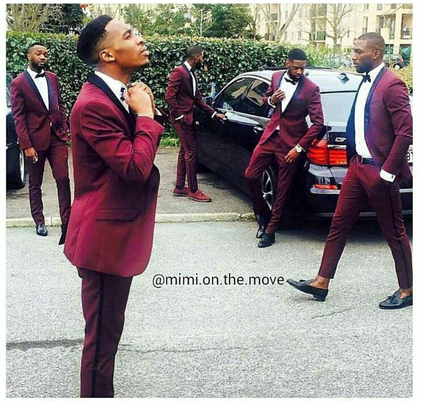 Yesss i love these burgundy tuxedos wedding groomsmen outfits
