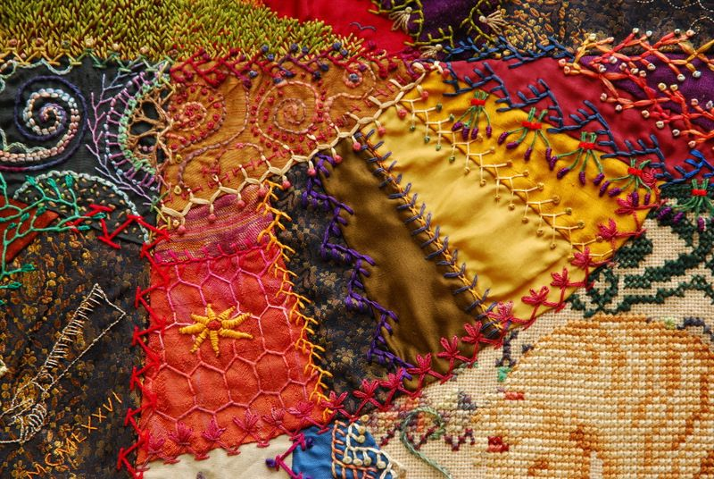 https://flic.kr/p/dpzUe6 | Crazy Quilt | I realised that I haven't added many of these photo's here, so thought I would.  These are of my Crazy Quilt with Grandmother's Fans. It took 4 years between 1992-1996 and I sold it in 2009(ish) for $70000AU.