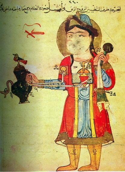 Al-Jazari's sketch of an automaton for dispensing wine & water, 1206