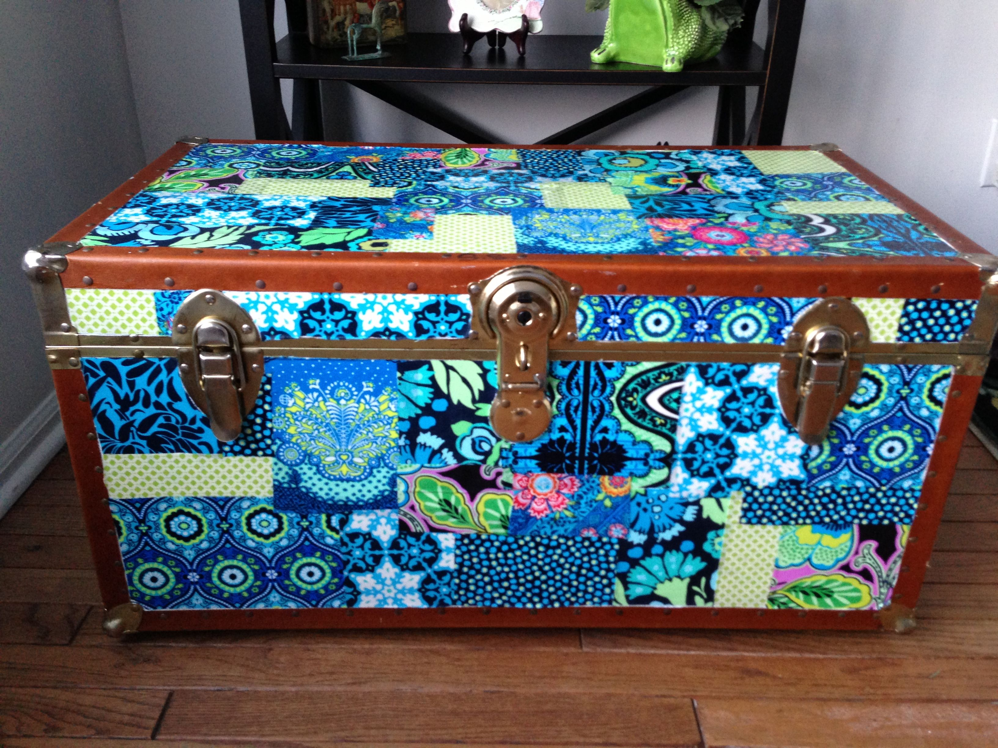 Decoupaged trunk with Amy Butler fabric