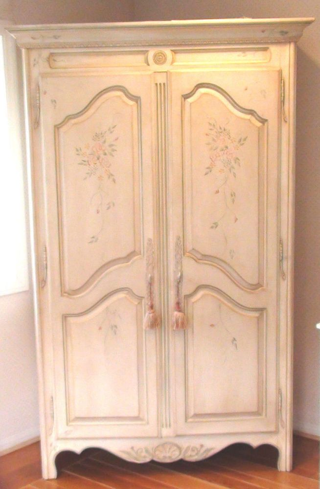 ETHAN ALLEN PAINTED FRENCH COUNTRY HAND DECORATED ARMOIRE