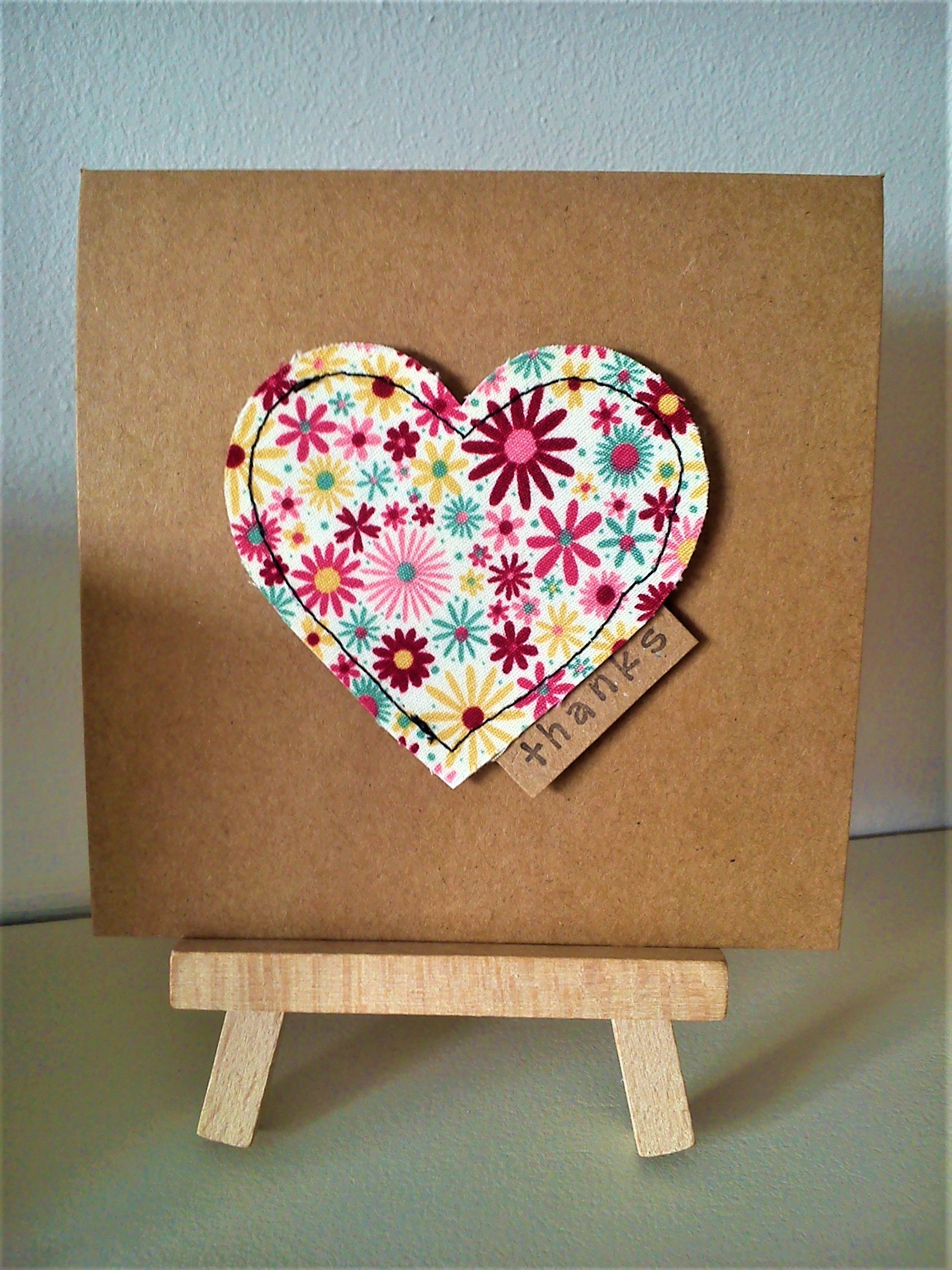Handmade sewn heart thank you card made with rose hubble