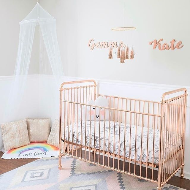 All the love for this gorgeous ROSE GOLD Ellie crib!   Can't get enough of this sweet room from @maddenandgemma!