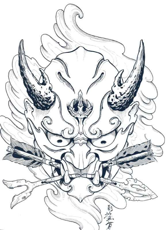 Japanese Hannya Mask Tattoo Designs By Horimouja Outline Stencil Mask Tattoo Japanese Tattoo Hannya Mask Tattoo