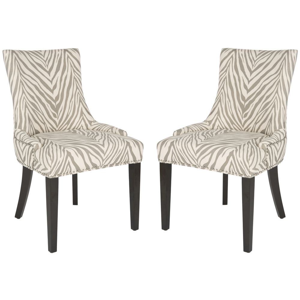 Safavieh Lester Grey Zebra Dining Chairs Set Of 2  Overstock Fascinating Zebra Dining Room Chairs Review