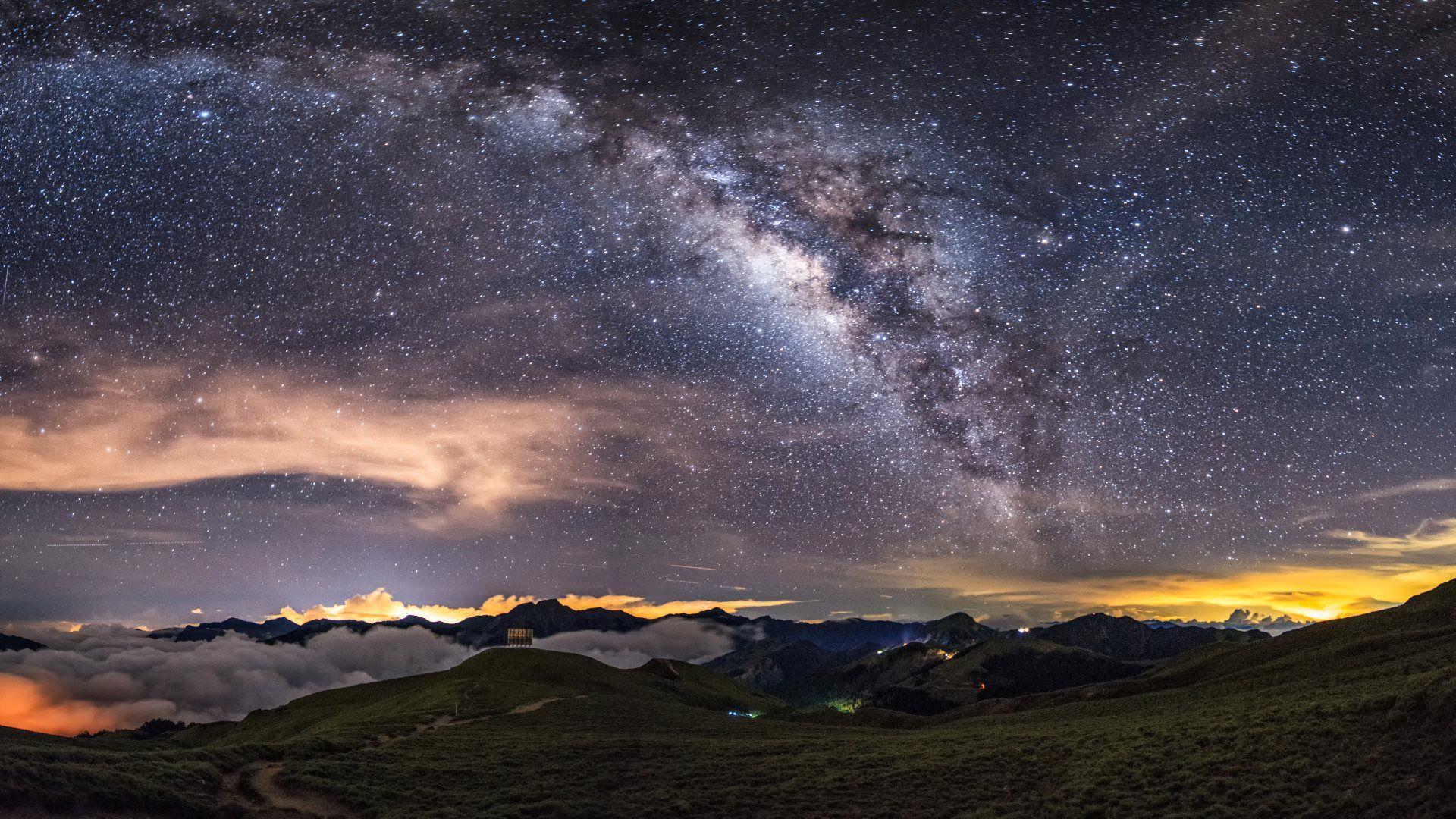 Milky Way On The Night Sky Hd 1920x1080 Milky Way Galaxy Wallpaper Night Sky Wallpaper Space Wallpaper 4k