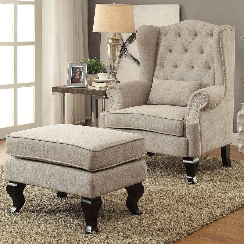Willow Wingback Chair And Ottoman Decorating Modern Tuscan