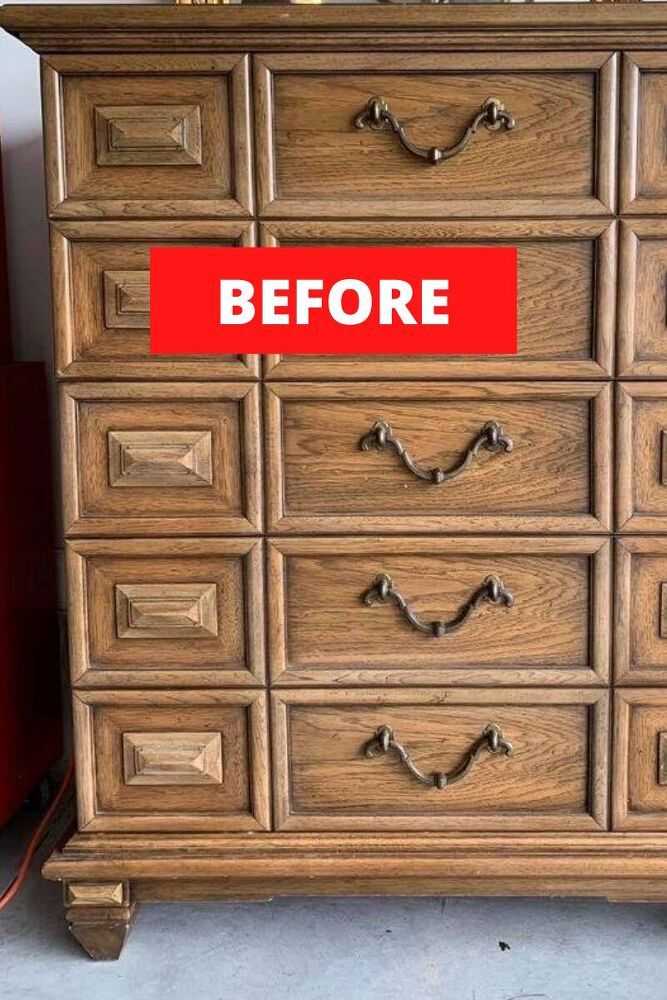 Check out this creative and cheap tall dresser upcycle idea. Perfect for decorating a kids bedroom. Decorate on a budget with dresser update project. #hometalk