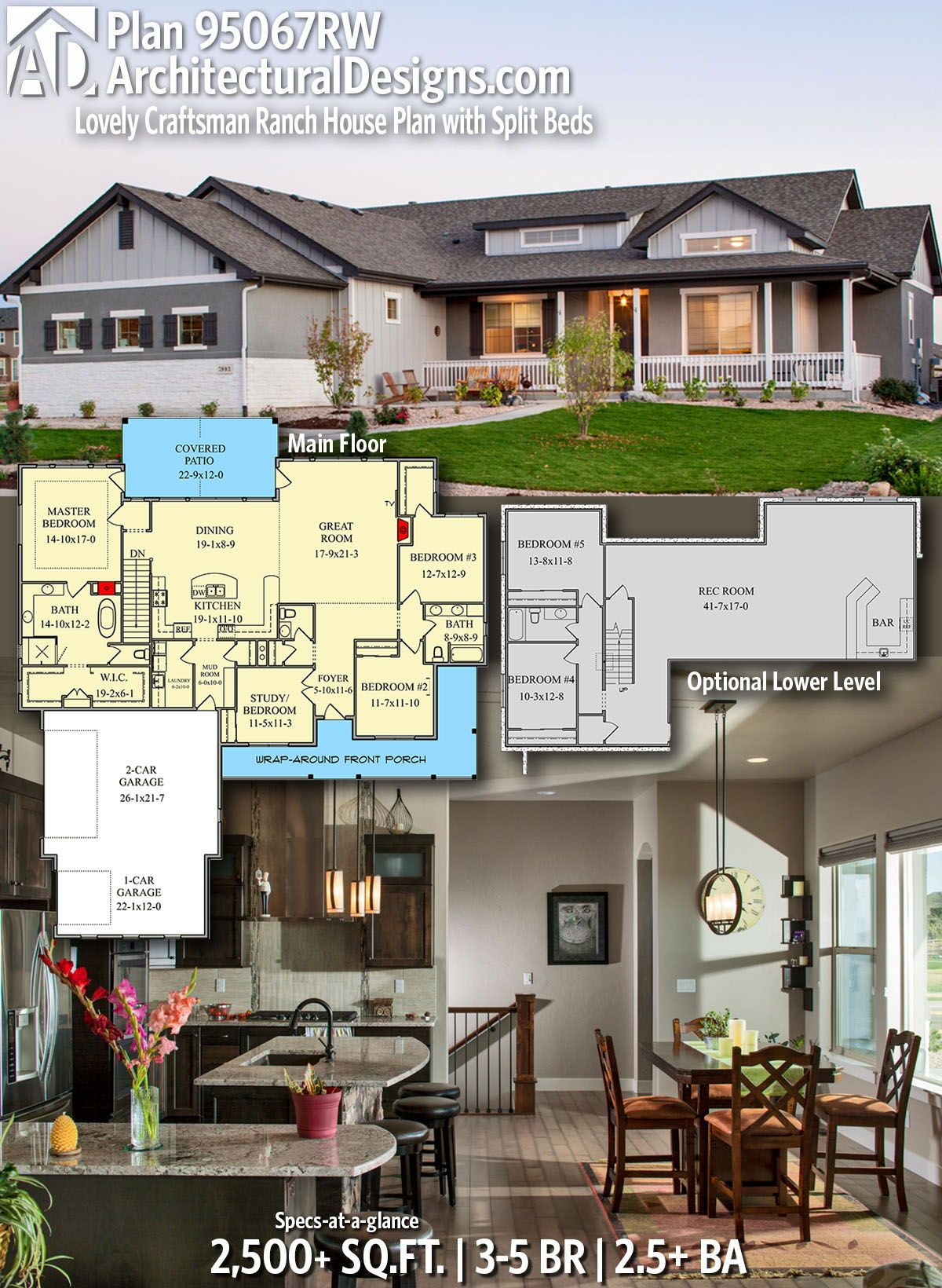Plan 95067rw Lovely Craftsman Ranch House Plan With Split Beds Craftsman House Plans Ranch House Plan Dream House Plans