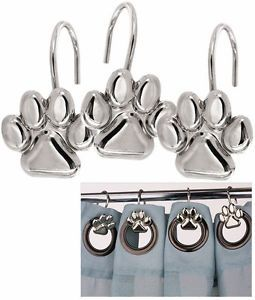 Dog Shower Curtain Hooks Nwt Set 12 Dog Cat Paw Print Silver Shower Curtain Hooks Dog Cat Lover Dog Bathroom Shower Curtain Hooks Animal Shower Curtain