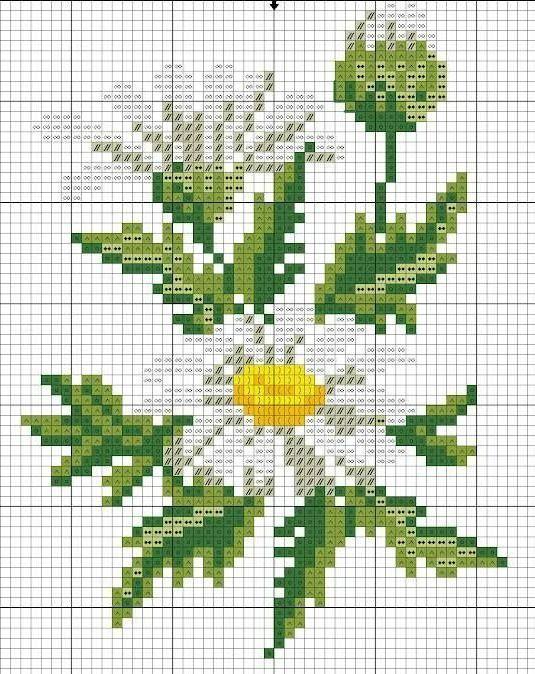 Схема вышивки крестиком ромашками