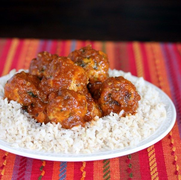 Turkey Meatballs in Curry Sauce | Serve over Mahatma Basmati Rice for a delicious dinner idea.