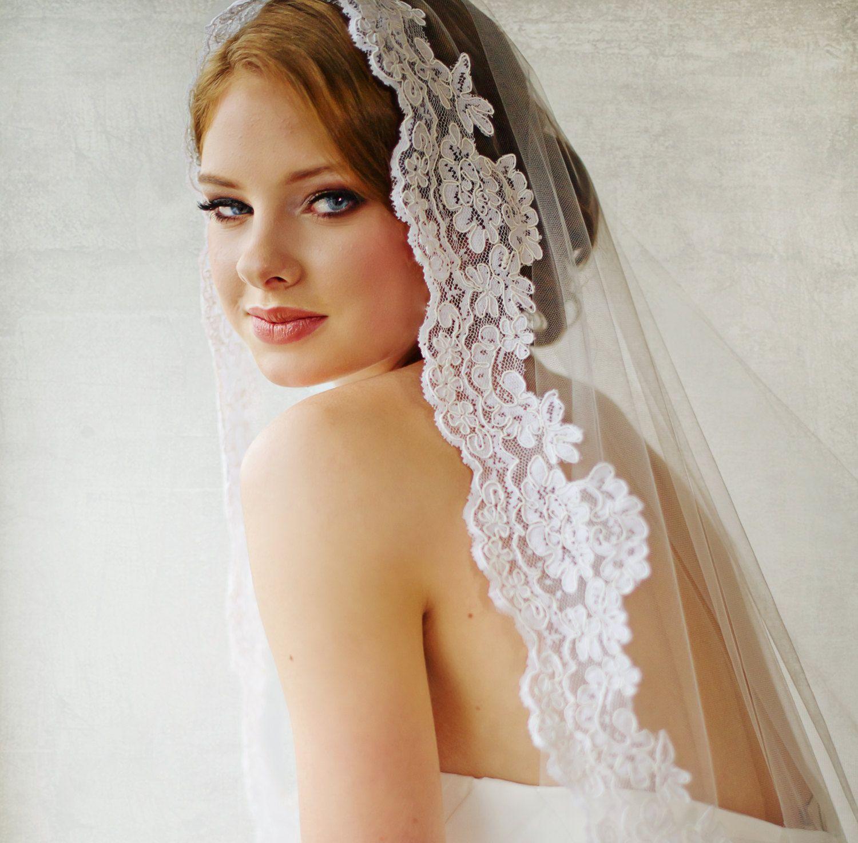 bridal veil traditional veil mantilla by powderbluebijoux on etsy