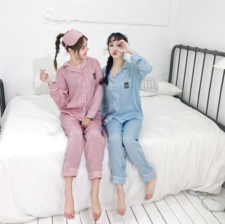 レディース熊ちゃん刺繍 パジャマ セット 3点セット ルームウェア
