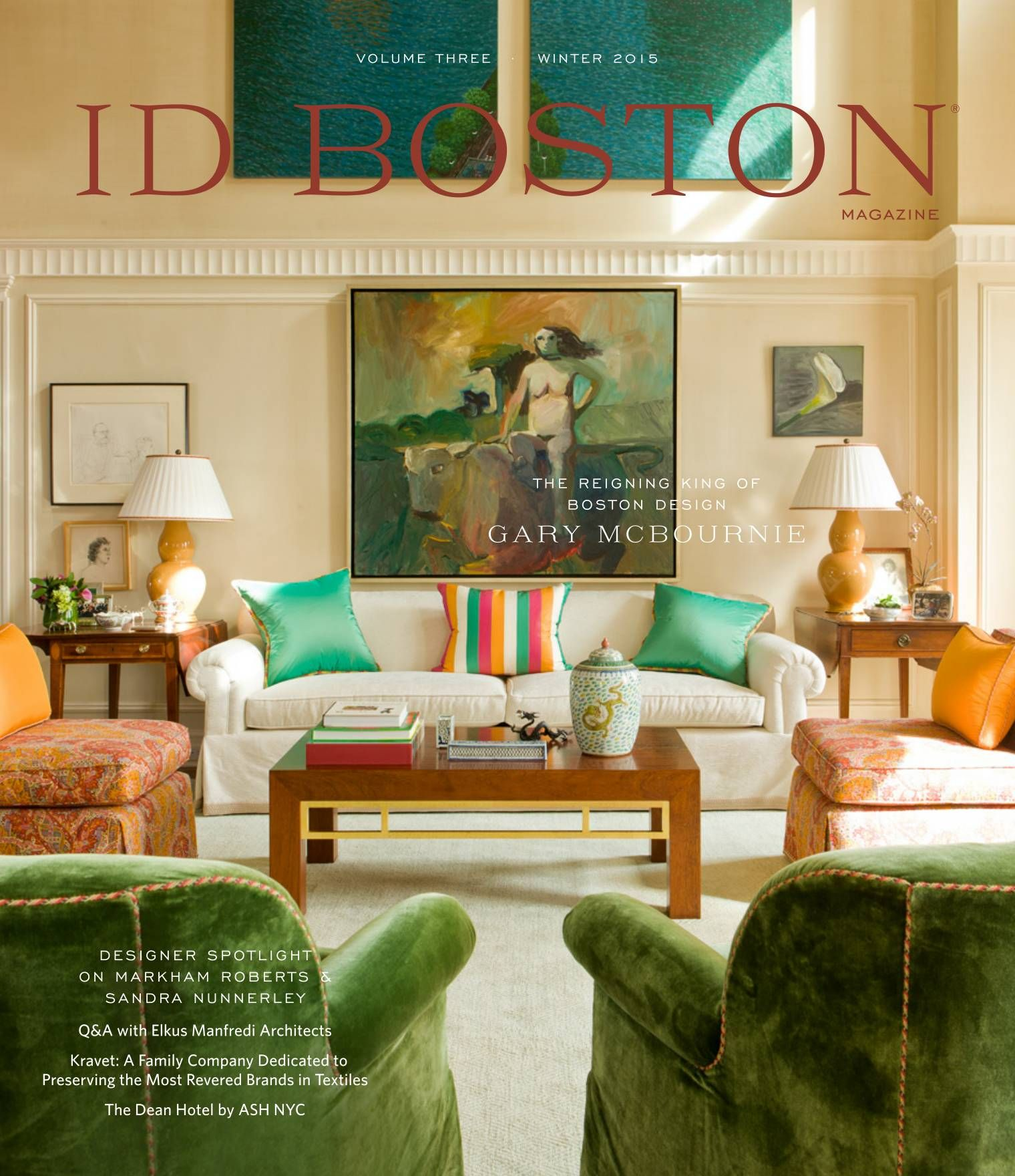 Is it just me, or is Gary McBournie a color genius? Volume Three: Winter  2015 - ID Boston Magazine  Boston Design Center