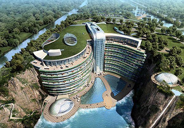 Luxury Songjiang Hotel under Waterfall in China