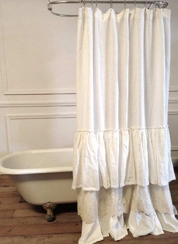 Bella Lace Ruffle Shower Curtain White Linens Ruffles