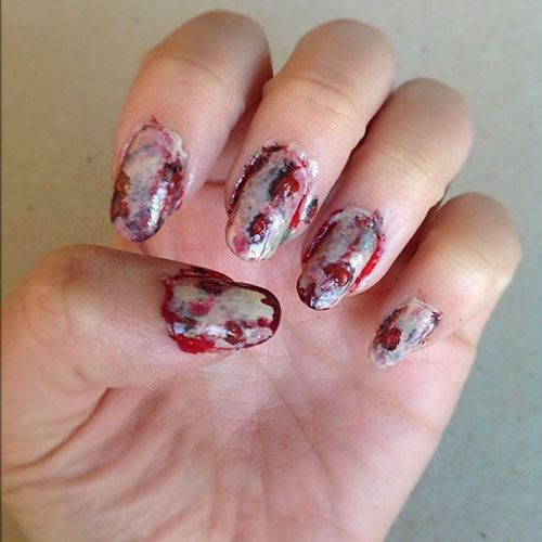 halloween zombie scary dead nail art design blood grimey - Halloween Zombie Scary Dead Nail Art Design Blood Grimey This Is