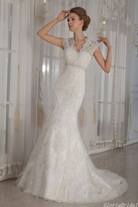 Vintage Mermaid Style Illusion Neckline Floor Length Lace Wedding Dress Beading Waistline Bridal Gown Gbw312101