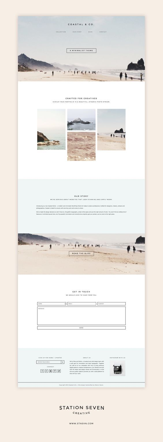 Say hello to the Coastal WordPress Theme. A minimalist design coupled with e… | Web layout design, Website design inspiration, Minimalist wordpress themes