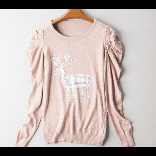 بلوزات من الصوف الخفيف بأكمام طويلة بلوزة بكسرات علي الأكمام مع فصوص برسمة غزال من الأمام البلوزات متوفرة بالألوان بيج Fashion Sweaters Blouse