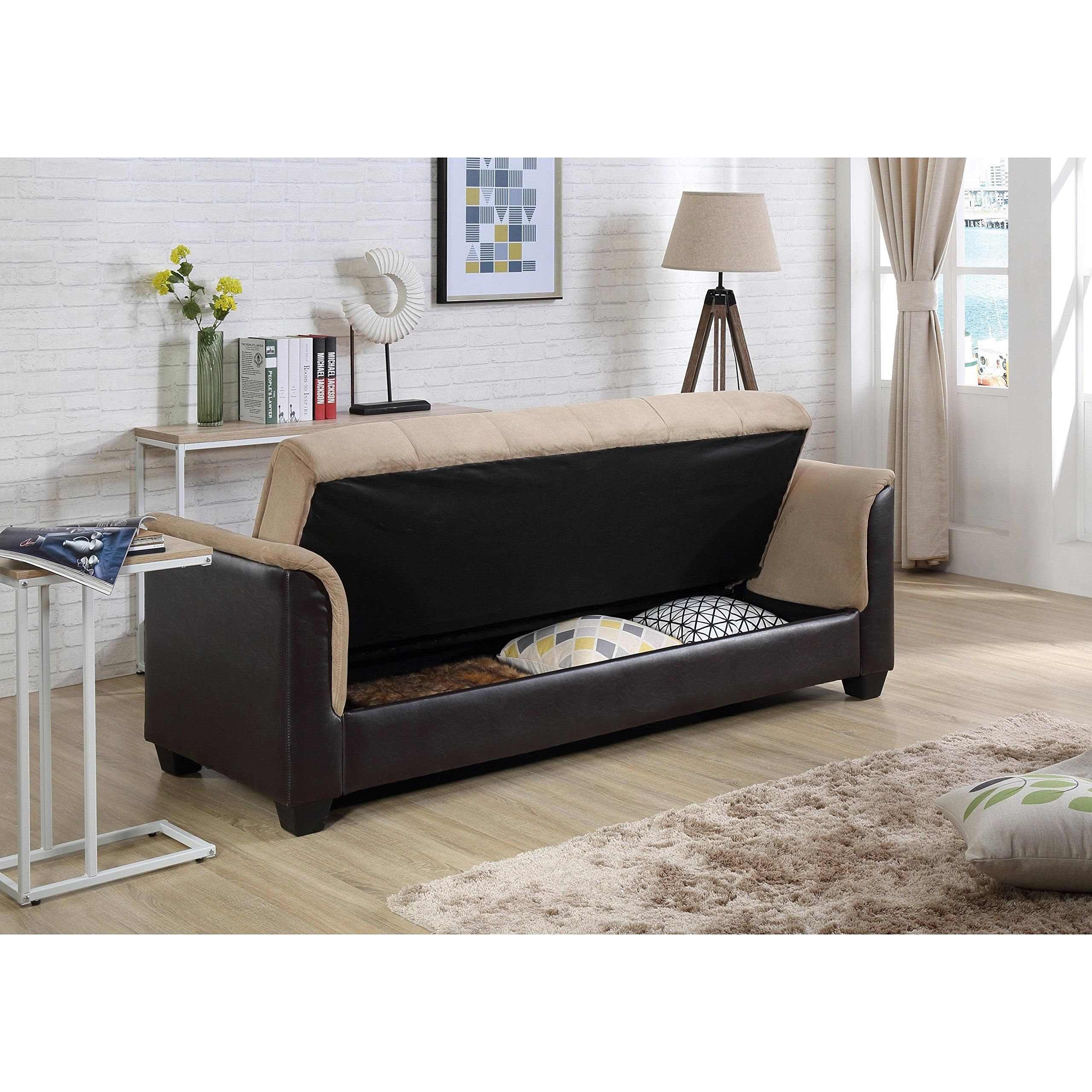 Storage Express Home: NHI Express Melanie Futon Sofa Bed With Storage Brown