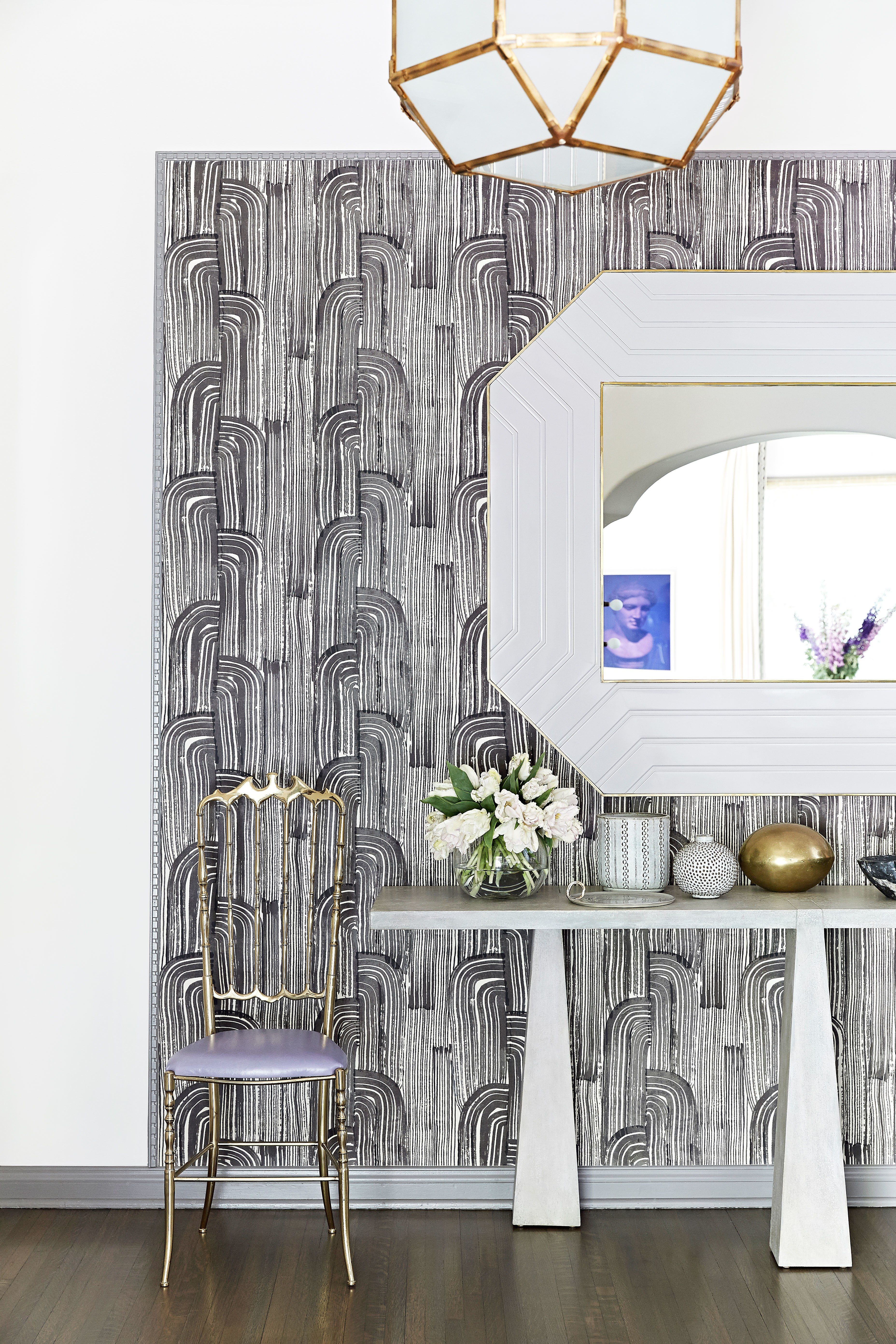 An Bold Entryway Featuring Statement Making Kelly Wearstler Wallpaper And A Lacquered Mirror Archdigest