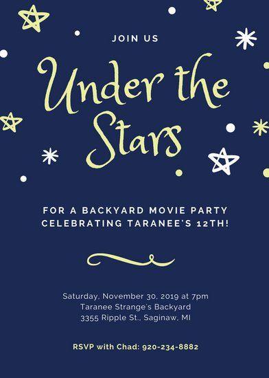 Dark Blue Stars Movie Night Invitation Portrait | Movie Night ...