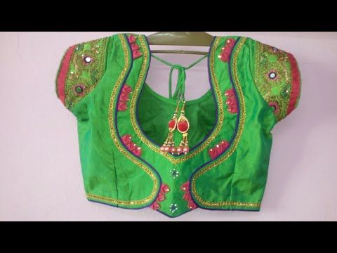 b33a71e93b Mirror Work saree designer back neck blouse|Cutting and stitching back  neck. - YouTube