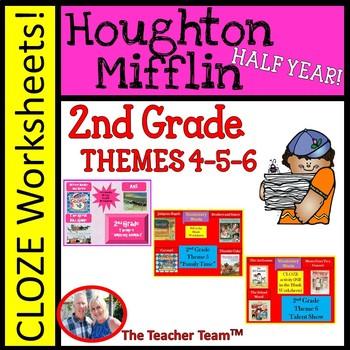 Houghton Mifflin Reading 2nd Grade Worksheet Bundle Theme 4 Theme 6 Houghton Mifflin Reading 2nd Grade Reading Vocabulary