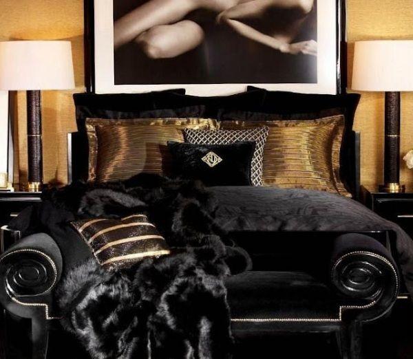 Luxus-Einrichtung Schlafzimmer-Ralph Lauren-Schwarz Samt Fell - luxus schlafzimmer design