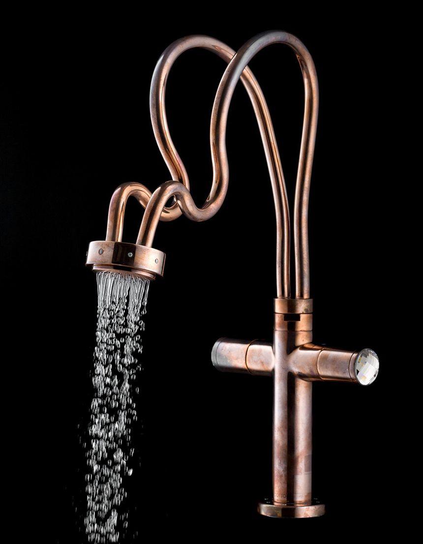 Unique Swarovski Faucets For Shower Or Sink By Cotto Copper Faucet Faucet Design Steampunk Bathroom [ 1106 x 860 Pixel ]