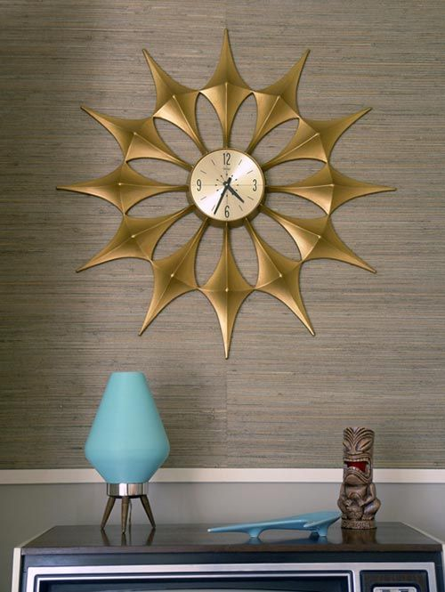 Midcentury Starburst clock with exaggerated star points