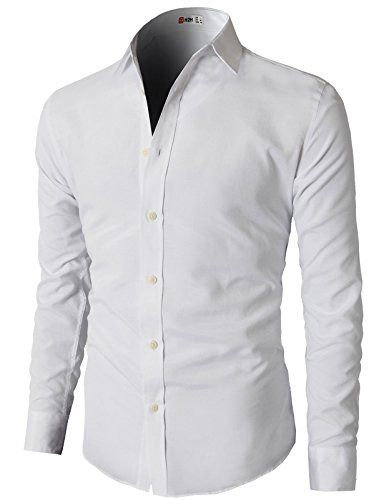 H2H Mens Oxford Cotton Slim Fit Casual Button-down Shirts Long ...