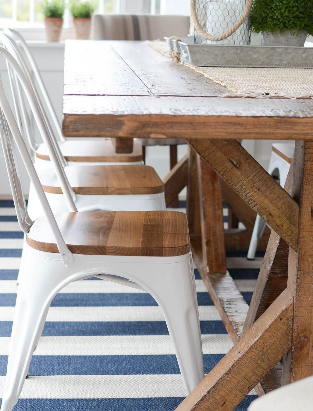 Coastal Dining Room Metal Bistro Chairs, Beachy Dining Room Chairs