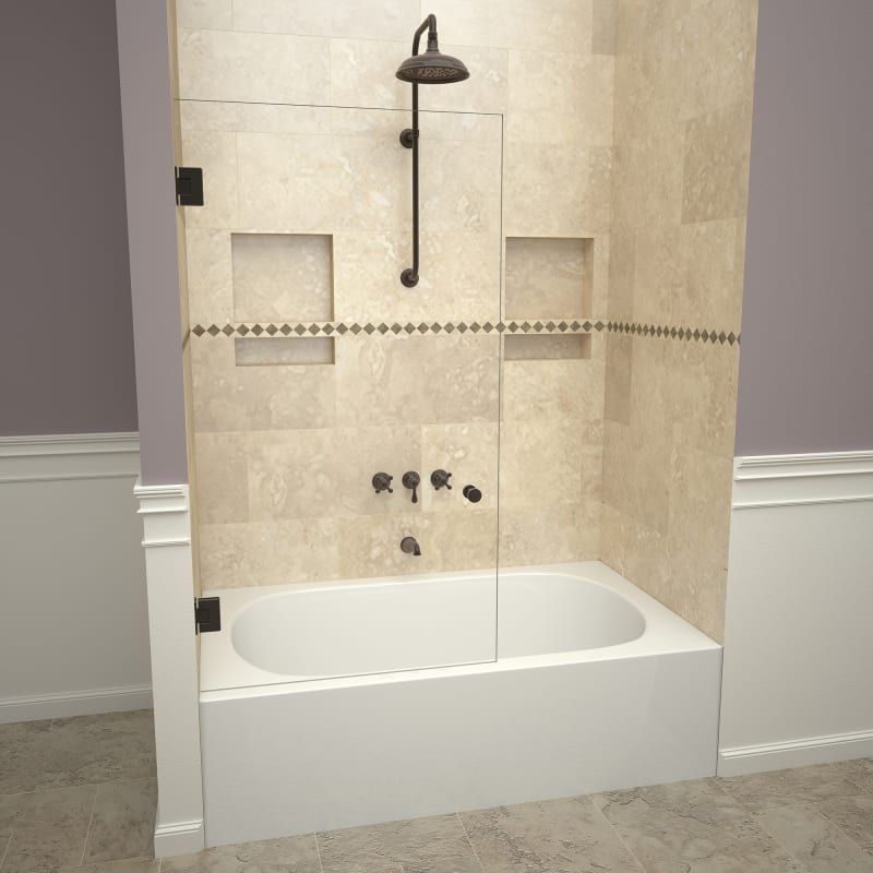 """Tile Redi 20VCONS03060 Oil Rubbed Bronze Redi Screen 60"""" High x 30"""" Wide Hinged Frameless Tub Door with Clear Glass"""