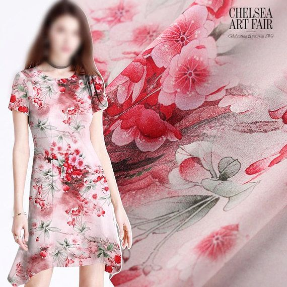love shape print 100/% Silk Crepe de Chine Fabric Width 55 inch Red fashion fabric