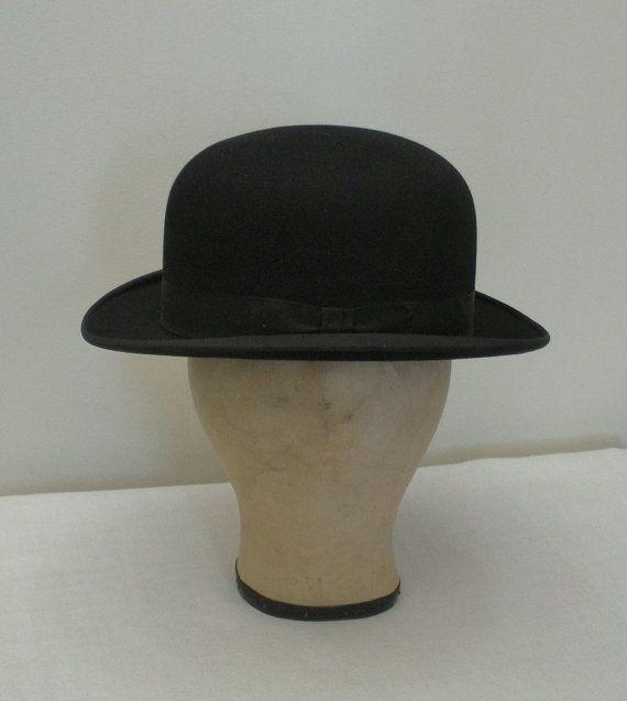 6dc1892019d46 Vintage 1930s Mens Derby Hat Bowler Hat by WildrosePrimitives