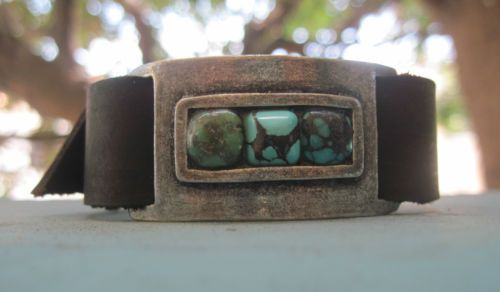 Supple Leather /& Variegated Turquoise Stone Cuff Bracelet Women/'s Brown