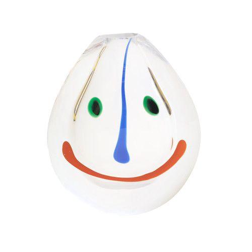 Signed Anne Nilsson Orrefors Smiley Face Art Glass Vase