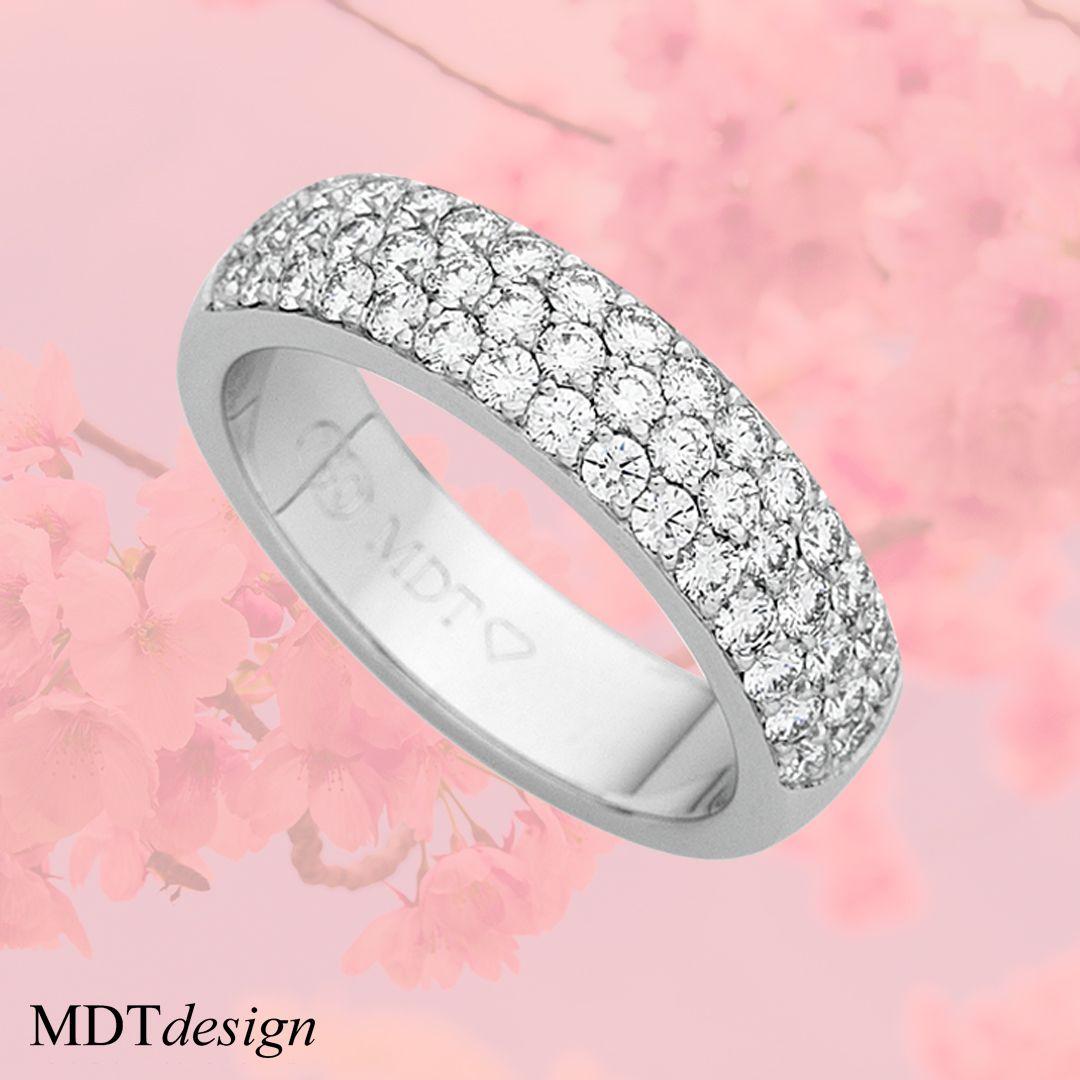 White Gold Random Set Diamonds Flat Band C433 | Our Bespoke Designs ...