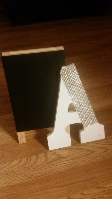For the gift table, chalkboard & babys 1st letter of her name