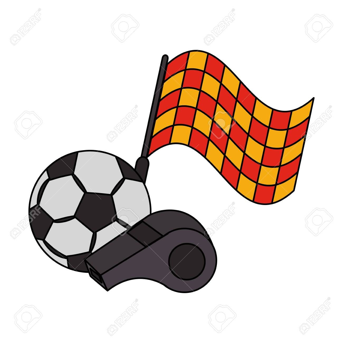 Soccer Football Sport Game Competition Play Activity Referee And Game Objects Cartoon Vector Illustration Graphic Des Competition Games Soccer Sports Games